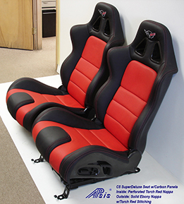 C5 SuperDeluxe Seat w-CF-ebony+torch red w-c5 logo-pair-side view-3b no flash- 261X289