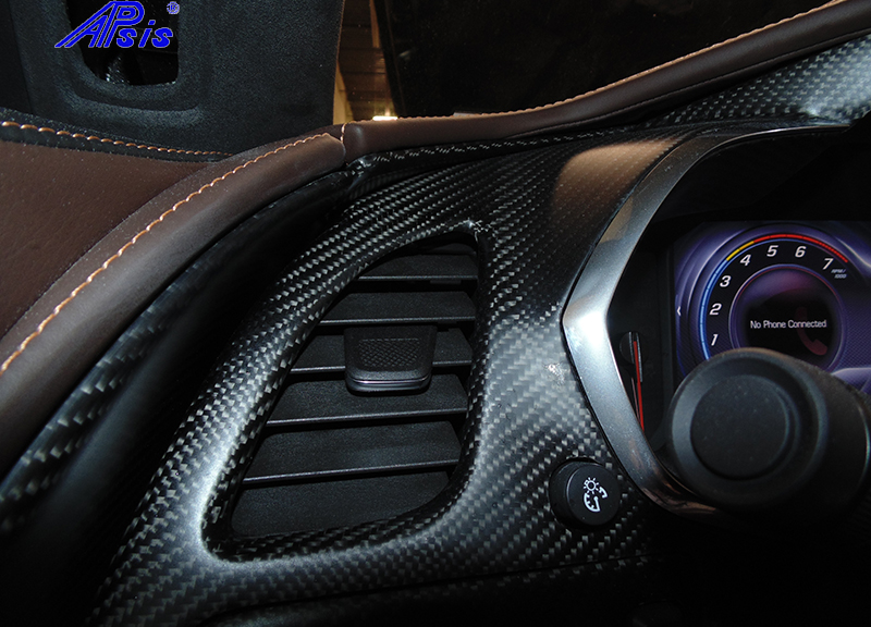 C7 14-UP Lamination Black Carbon Left of Instrument Cluster Vertical Panel, Upper (Core Exchange)  ($98.00 + Refundable Core Charge $50.00) (High Gloss or Matte Finish)