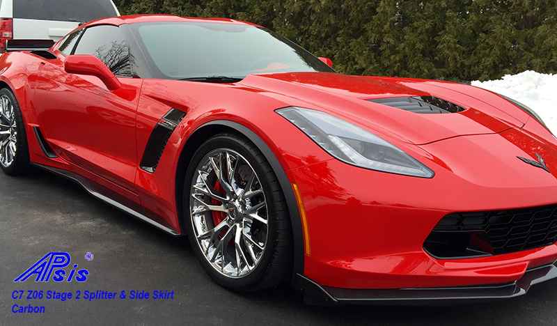 C7 Z06 15-UP, Replica Stage 2 Front Splitter, 3 pcs/set, Matte Black (Carbon Flash, High Gloss Carbon or Matte Finish Carbon) Starting from $798.00