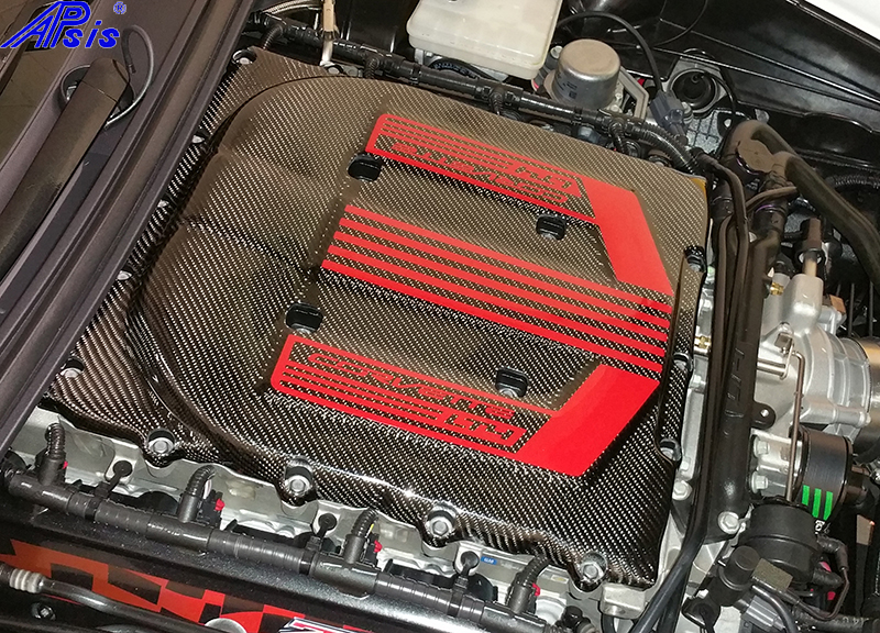 C7 Z06 14-UP Supercharge Engine Cover with Silver, Red, Yellow, Blue or Orange Red Lettering, 2015-2016 or 2017-UP (High Gloss Carbon or Matte Finish Carbon) $898.00