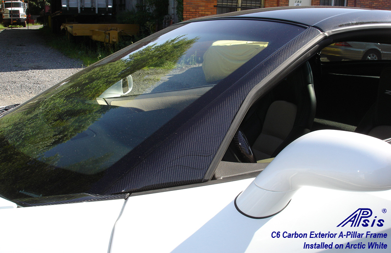 C6 Z06 06-13 Lamination Black Carbon or Silver Carbon Exterior A-Pillar Frame, 2pcs/set (Core Exchange)  ($995.00 + Refundable Core Charge $250.00)